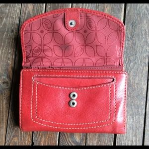 Fossil wallet red leather zipper top card slots